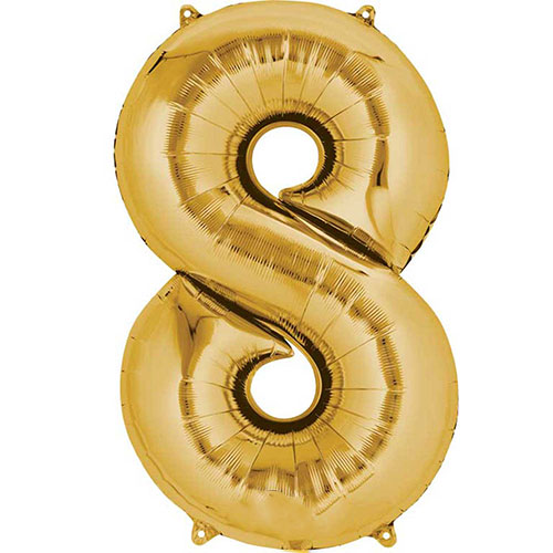Gold Number 8 Air Fill Foil Balloon 40cm / 16 in Product Image