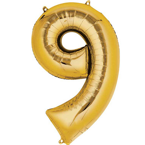 Gold Number 9 Air Fill Foil Balloon 40cm / 16 in Product Image