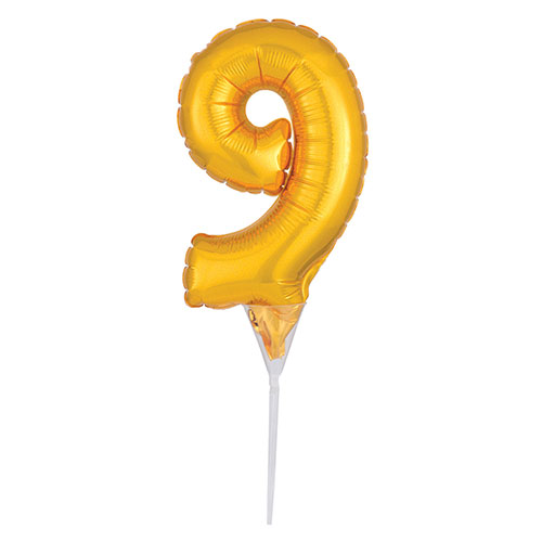 Gold Number 9 Air Fill Foil Balloon Cake Pick 30cm / 12Inch Product Image