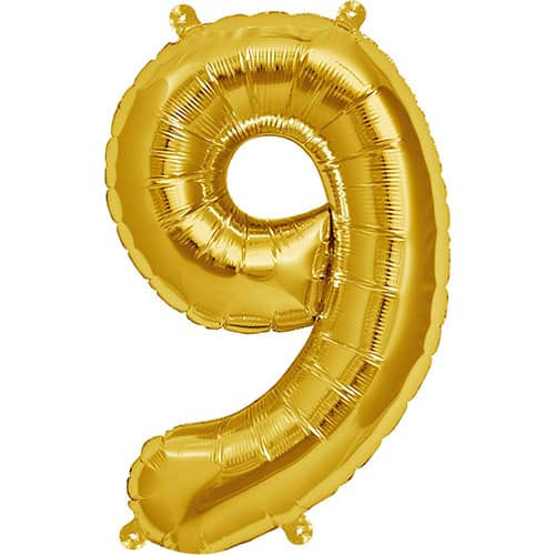Gold Number 9 Helium Foil Giant Balloon 86cm / 34 in