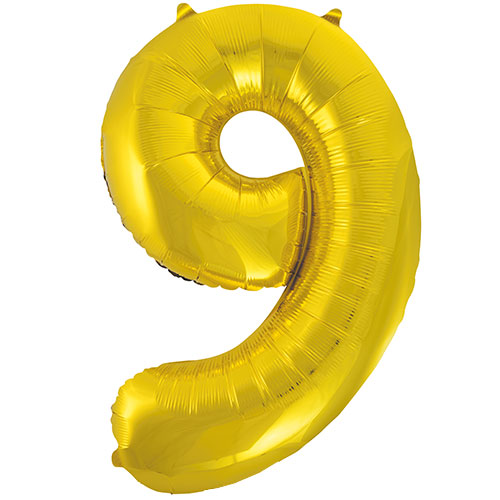 Gold Number 9 Helium Foil Giant Balloon 86cm / 34 in Product Image