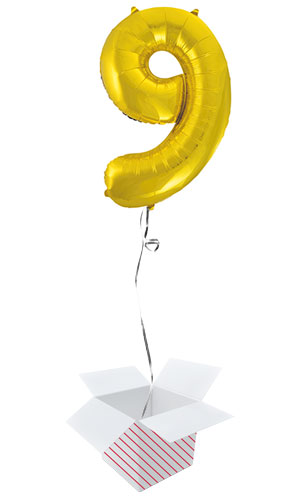 Gold Number 9 Helium Foil Giant Balloon - Inflated Balloon in a Box