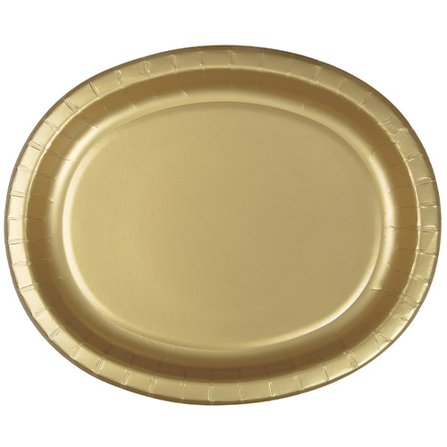 Gold Oval Paper Plates 30cm - Pack of 8 Product Image