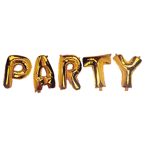 Gold PARTY Air Fill Foil Letter Balloon Kit 34cm Product Image