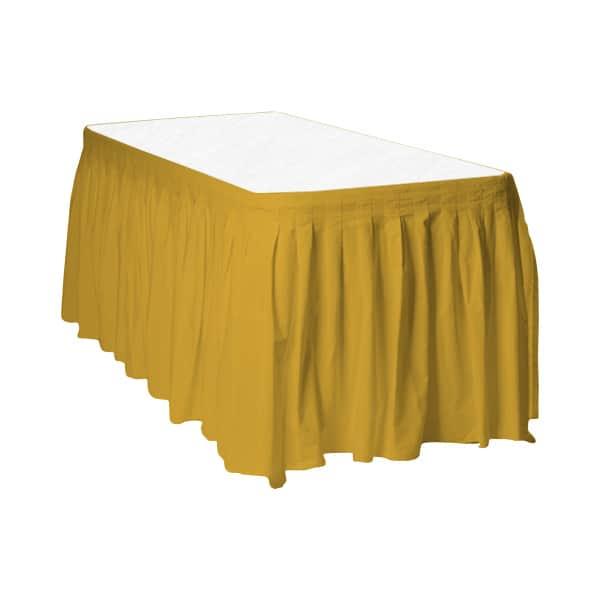 Gold Plastic Table Skirt - 426cm x 74cm Product Image