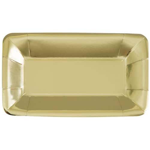 Gold Foil Rectangular Appetizer Plate 23cm Pack Of 8