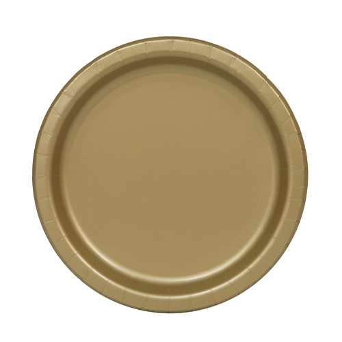 Gold Round Paper Plates 17cm - Pack of 20