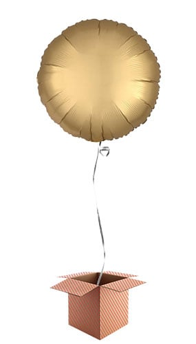 Gold Satin Luxe Round Foil Helium Balloon - Inflated Balloon in a Box