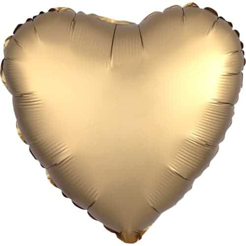 Gold Satin Luxe Heart Foil Helium Balloon 43cm / 17Inch Product Image