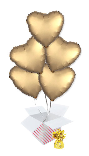 Gold Satin Luxe Heart Foil Helium Balloon Bouquet - 5 Inflated Balloons In A Box Product Image