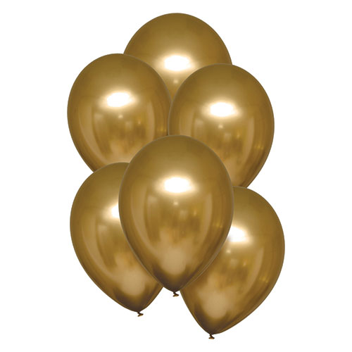 Gold Satin Luxe Latex Balloons 28cm / 11 in - Pack of 6 Product Image