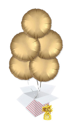 Gold Satin Luxe Round Foil Helium Balloon Bouquet - 5 Inflated Balloons In A Box Product Image
