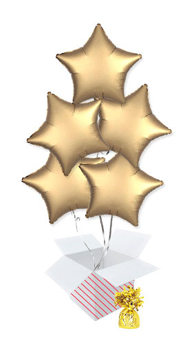 Gold Satin Luxe Star Foil Helium Balloon Bouquet - 5 Inflated Balloons In A Box Product Image