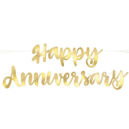 Gold Script Happy Anniversary Foil Cardboard Letter Banner 182cm Product Image