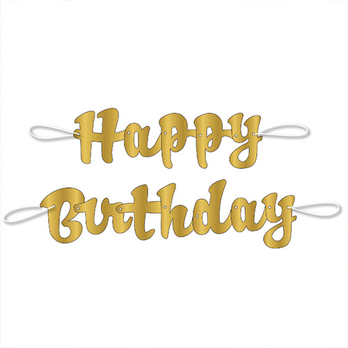 Gold Script Happy Birthday Foil Cardboard Letter Banner 106cm Product Image