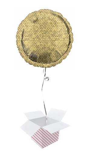 Gold Sequins Round Foil Helium Balloon - Inflated Balloon in a Box