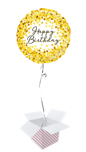 Gold Sparkle Birthday Holographic Round Foil Helium Balloon - Inflated Balloon in a Box