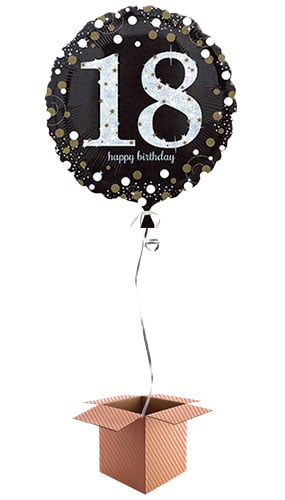 Gold Sparkling 18th Birthday Round Foil Balloon - Inflated Balloon in a Box