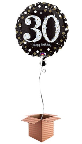 Gold Sparkling 30th Birthday Round Foil Balloon - Inflated Balloon in a Box Product Image
