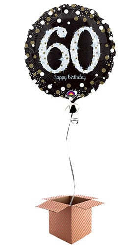 Gold Sparkling 60th Birthday Round Foil Balloon - Inflated Balloon in a Box Product Image
