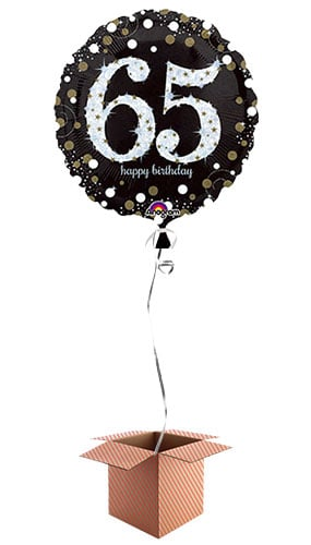 Gold Sparkling 65th Birthday Round Foil Balloon - Inflated Balloon in a Box
