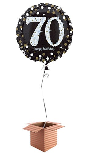 Gold Sparkling 70th Birthday Round Foil Balloon - Inflated Balloon in a Box