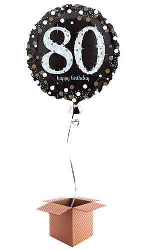 Gold Sparkling 80th Birthday Round Foil Balloon - Inflated Balloon in a Box Product Image