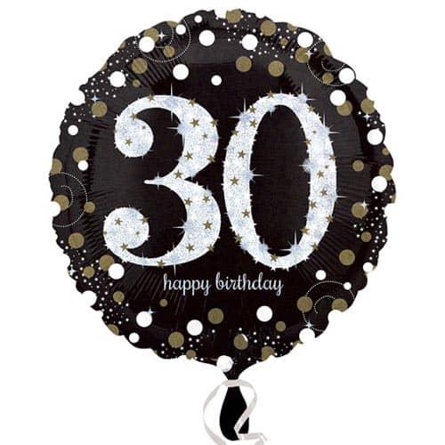 Gold Sparkling 30th Birthday Round Foil Helium Balloon 46cm / 18Inch