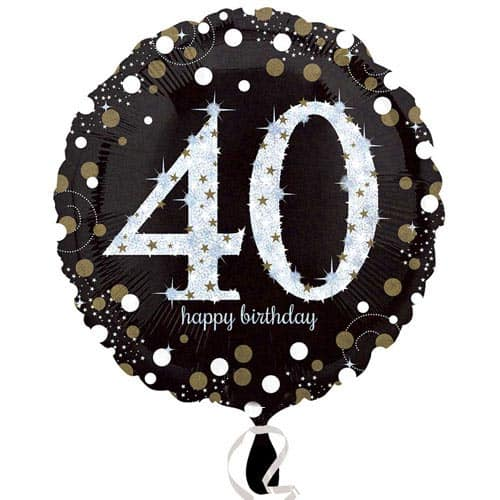 Gold Sparkling 40th Birthday Round Foil Helium Balloon 46cm / 18Inch
