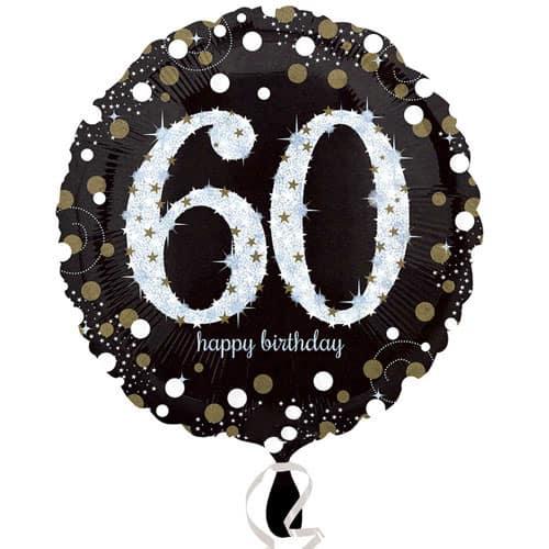 Gold Sparkling 60th Birthday Round Foil Helium Balloon 46cm / 18Inch