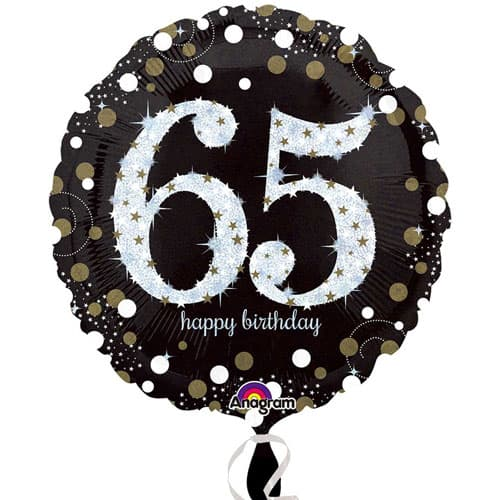 Gold Sparkling 65th Birthday Round Foil Helium Balloon 46cm / 18Inch Product Image