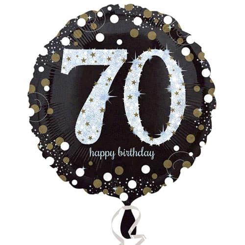 Gold Sparkling 70th Birthday Round Foil Helium Balloon 46cm / 18Inch