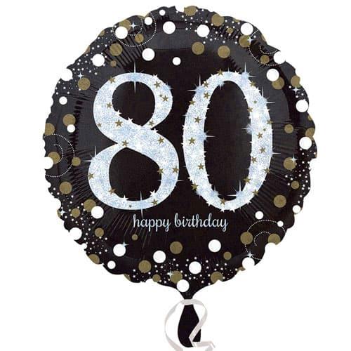 Gold Sparkling 80th Birthday Round Foil Helium Balloon 46cm / 18Inch