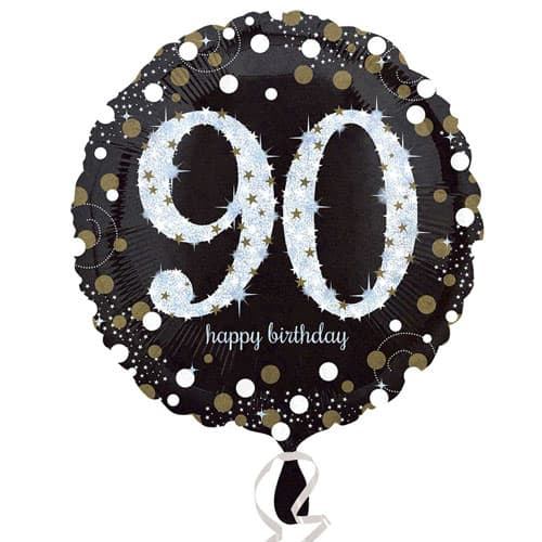 Gold Sparkling 90th Birthday Round Foil Helium Balloon 46cm / 18Inch