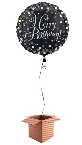 Gold Sparkling Happy Birthday Round Foil Balloon - Inflated Balloon in a Box Product Image