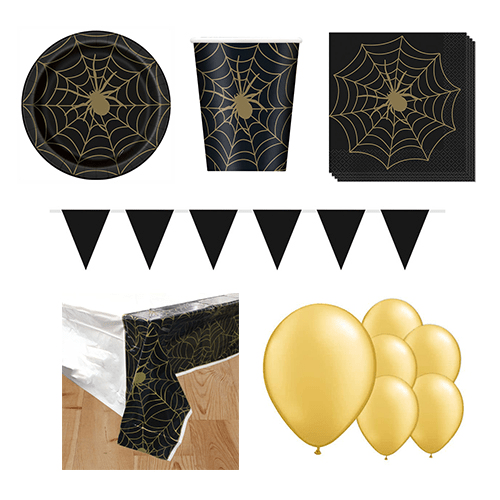 Gold Spider Web 8 Person Deluxe Party Pack