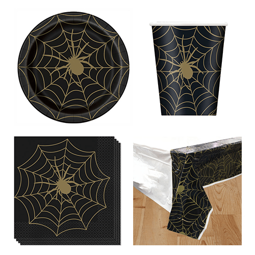 Gold Spider Web 8 Person Value Party Pack