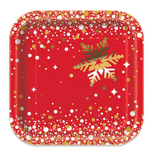 Gold Sparkle Christmas Square Paper Plates 17cm - Pack of 8