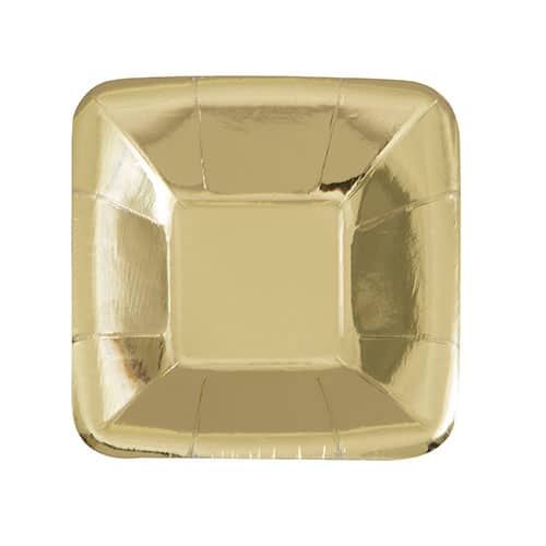 Gold Foil Square Paper Plate 12cm Pack of 8