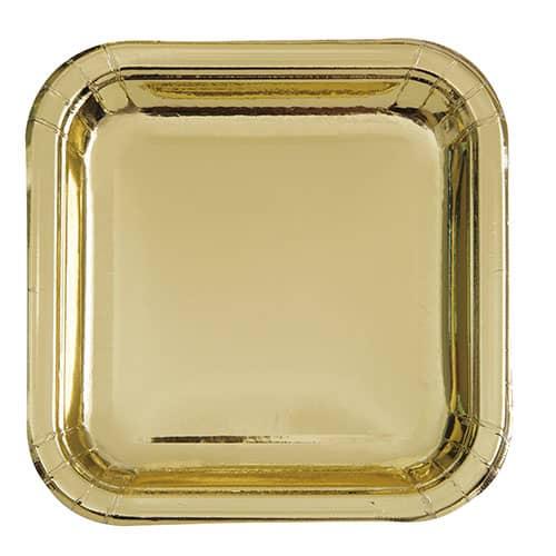 Gold Foil Square Paper Plate 17cm