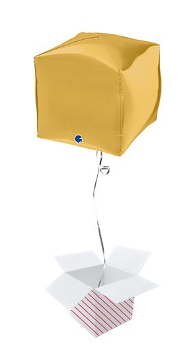 Gold 4D Square Shape Foil Helium Balloon - Inflated Balloon in a Box Product Image