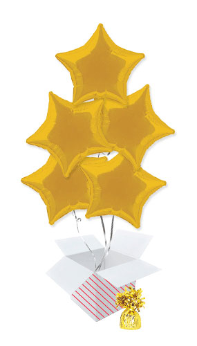 Gold Star Foil Helium Balloon Bouquet - 5 Inflated Balloons In A Box Product Image