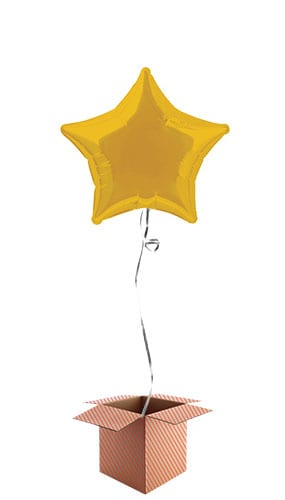 Gold Star Shape Foil Balloon - Inflated Balloon in a Box Product Image