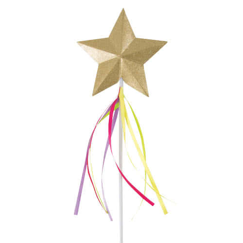 Glitter Gold Star Wand With Coloured Ribbons Product Image