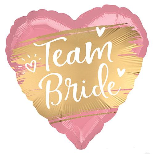 Gold Team Bride Satin Luxe Heart Shape Foil Helium Balloon 45cm / 18 in