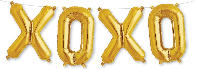 Gold XOXO Air Fill Foil Balloon Kit 41cm / 16Inch Product Image