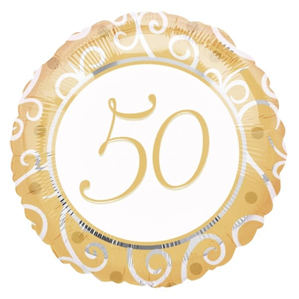 Golden 50th Round Foil Helium Balloon 46cm / 18Inch Product Image