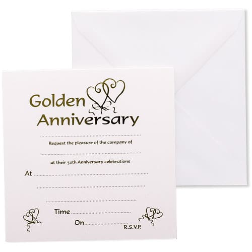 Golden Anniversary Invitations with Envelopes - Pack of 10 Product Image