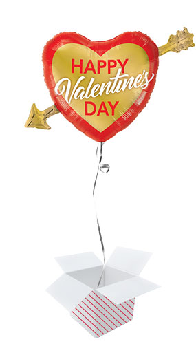 Valentine's Day Golden Arrow Helium Foil Giant Qualatex Balloon - Inflated Balloon in a Box Product Image
