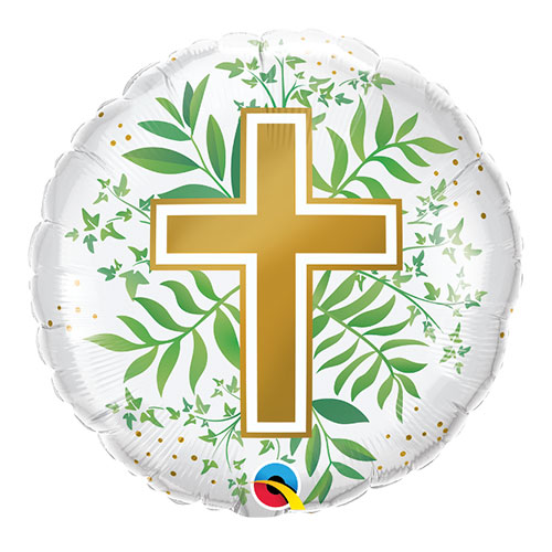 Golden Cross And Greenery Round Foil Helium Qualatex Balloon 46cm / 18 in